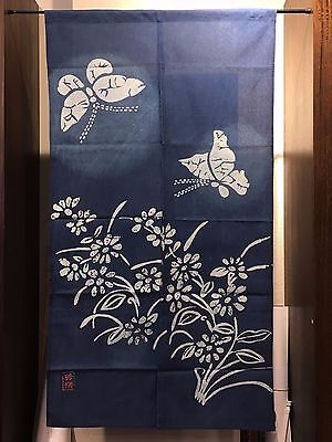 Noren - Japanese Curtain - Butterfly+Flowers - Cotton - Made in Japan