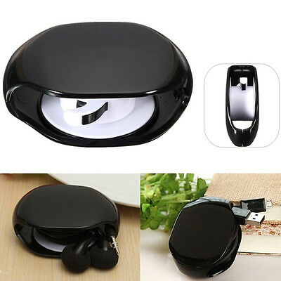 1pc Earphone Cable Wire Winder Organizer Automatic closing line Black/White