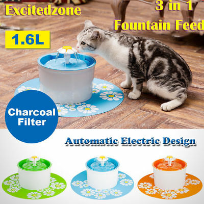 1.6L Electric 360 Pet Automatic Fountain Feeder Drinking Water Bowl Filtered Cat