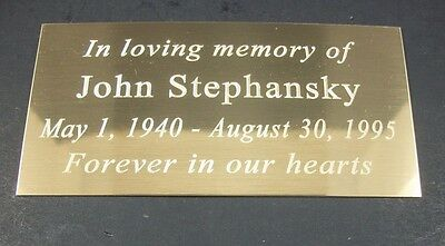 "Custom Engraved  2"" x 4""   Cremation , Urn, Pet Memorial Brass Plate"
