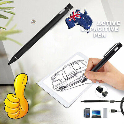 2.0mm Active Stylus Touch Screen Pen For iPad Tablet Phone + USB + 5X Tips AU