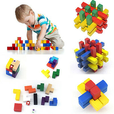 3 Types Wooden Kong Ming Lock Adult Children IQ Brain Teasers Puzzle Unlock Toys