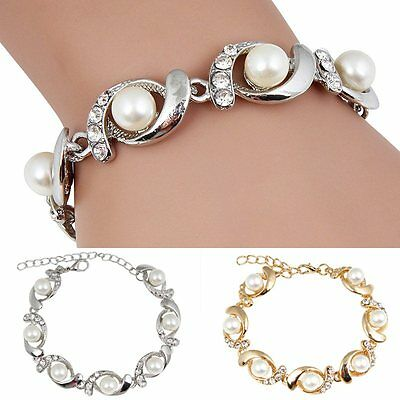 Women Gold Silver Plated Jewelry Pearl Crystal Cuff Bangle Charm Bracelet
