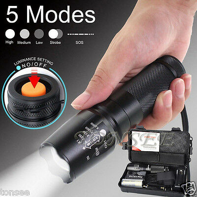 Zoomable 5000LM XM-L T6 LED 5-Mode Tactique Flashlight Torch Light Lamp Set Neuf
