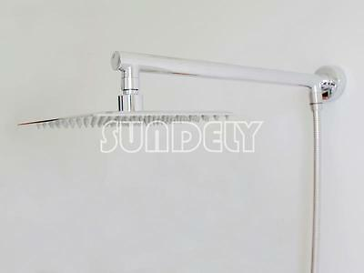Large 8 inch Square Stainless Steel Shower Head with Shower Arm and hose Kit