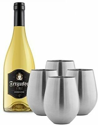 Stainless Steel Stemless Wine & Cocktail Glasses, 18Oz,Set of 4