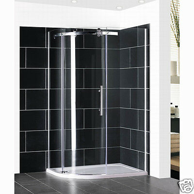 New Walk in Offset Quadrant Shower Enclosure and Tray Corner Cubicle 8mm Glass