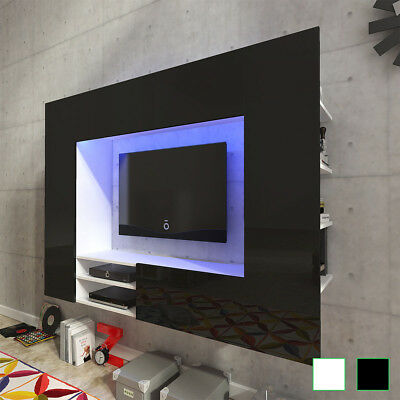 Mueble para la TV de pared con luces LED de 169,2 cm en colores blanco/negro