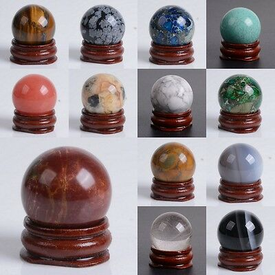 30mm Gemstone rock crystal  sphere with stand 1.2""