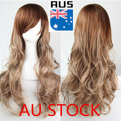 70CM Golden Wig Synthetic Hair Long Curly Wavy Full Womens Cosplay Natural Wigs