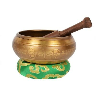 Tibetan Meditation Singing Bowl With Reclining Buddha Nirvana Carved KTS-SING101