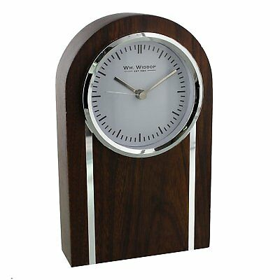 Contemporary Solid Wood Mahogany, Silver Look Mantel Clock With Domed Top Design
