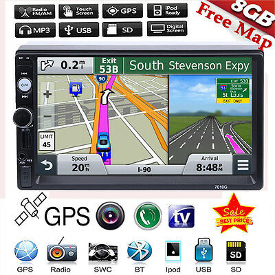 "7"" Double 2Din In Dash Car GPS Navi MP3 MP5 Player Touch Bluetooth Radio + Map"