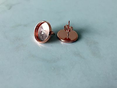 10 pairs (20 pcs) x rose gold coloured earrings with 12mm cabochon bezel setting
