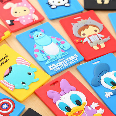 14 Patterns - Silicone Cartoon Name Address Label Card Holder Travel Luggage Tag