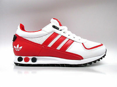Mens ADIDAS LA TRAINER II White Red Textile Leather Trainers AQ4550 RRP  £74.99 6d37856b707