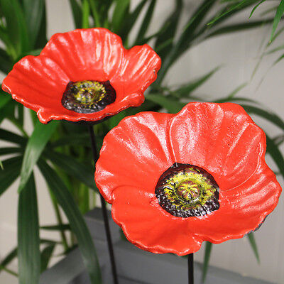 Wild Bird Feeder Set of 2 x Poppy Flower Dish Bird Feeders on Poles