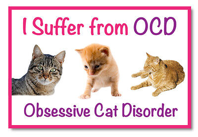 I Suffer from OCD- Obsessive Cat Disorder Fridge Magnet Pet Animal Novelty Gift