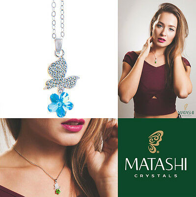 """16"""" Rhodium Plated Necklace w/ Butterfly, Flower & Blue Crystals by Matashi"""