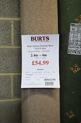 Pinpoint Wool Twist Calico Beige Carpet Remnant Lounge Bedroom Cheap 2.4m x 4m