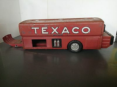 Vintage 60's Texaco Gas Tanker Pressed Metal Toy Truck Parts Park Plastics