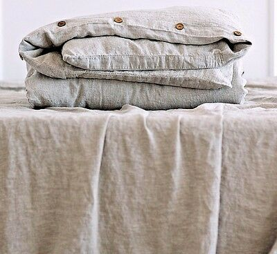 Washed Linen DUVET COVER 100% Organic Linen in Rose Brown Quilt Cover Bedding
