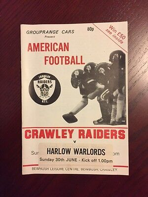 Crawley Raiders v Harlow Warlords 1986 American Football Programmes 8 pages