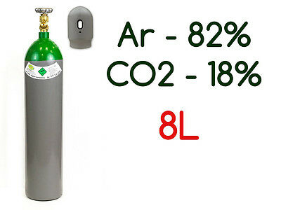 NEW Argon 82% CO2 18% MIX FULL Bottle Cylinder 8 Liter 200 Bar Pure Welding Gas