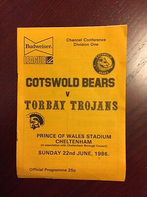 Cotswold Bears v Torbay Trojans 1986 American Football Programmes 8 pages