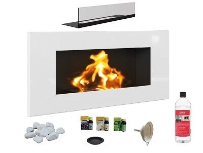 NEW BIO ETHANOL FIREPLACE ECO FIRE BURNER 900x400 WHITE GLOSS 1L FUEL FREE GLASS
