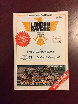 London Ravens v City of London Stags 1986 American Football Programmes 36 pg