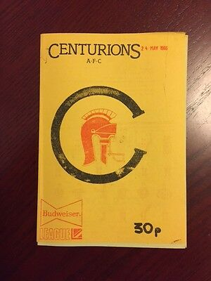 Centurions v Wolverhampton Outlaws 1986 American Football Programmes 8 pages