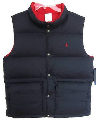 Ralph Lauren Boys Navy/Red Varsity Reversible Down Puffy Vest (L-14/16) NWT