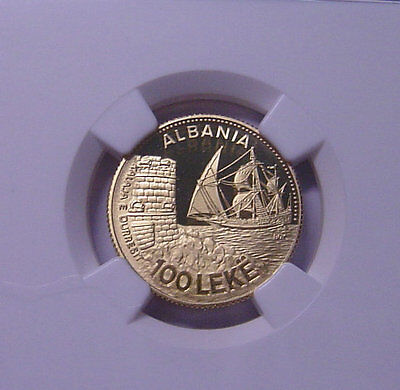 Albania 100 Leke 1987 Gold NGC PF69UC Seaport of Durazzo Rare coin