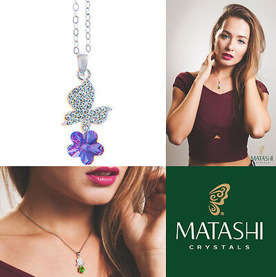 """16"""" Rhodium Plated Necklace w/ Butterfly, Flower & Purple Crystals by Matashi"""