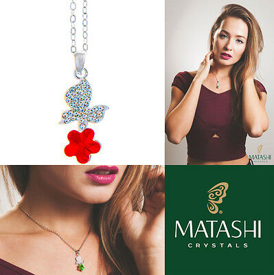 """16"""" Rhodium Plated Necklace w/ Butterfly, Flower & Red Crystals by Matashi"""