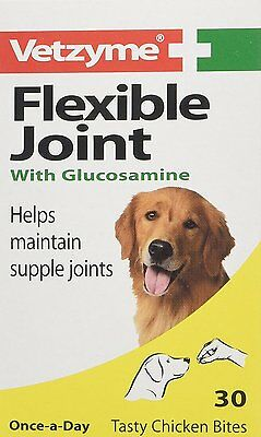 Vetzyme Flexible Joint Tablets with Glucosamine for Dogs-30 Tablets