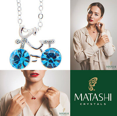 """16"""" Rhodium Plated Necklace w/ Bicycle & Ocean Blue Crystals by Matashi"""