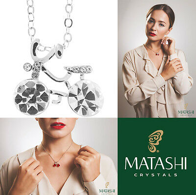 """16"""" Rhodium Plated Necklace w/ Bicycle & Clear Crystals by Matashi"""