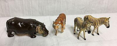 FOUR Vintage B.F. Depose Lead Cast Figures Made in France Zoo Animals