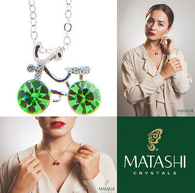 """16"""" Rhodium Plated Necklace w/ Bicycle & Olive Green Crystals by Matashi"""
