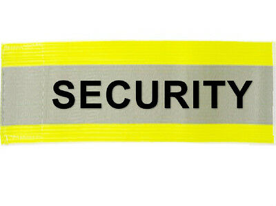 "Hi Visibility Reflective Armband Arm Bands Yellow Printed SECURITY 20"" x 5"""