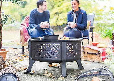 LARGE Steel Fire Pit with BBQ Grill Combi!Fire Bowl with Barbecue Garden heater