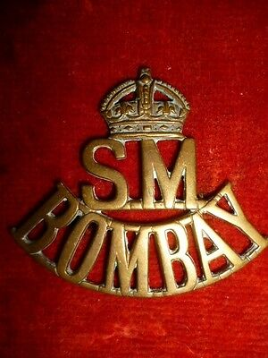 Indian Army - Crown / S.M. / BOMBAY Sappers and Miners Shoulder Title - India