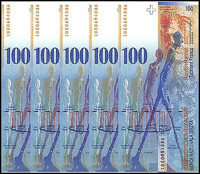 Switzerland 100 Francs X 5 Pieces (PCS), 2010, P-72i, UNC