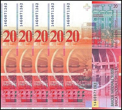 Switzerland 20 Francs X 5 Pieces (PCS), 2014, P-69h, UNC