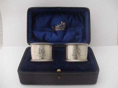 LOVELY PAIR OF CASED SOLID SILVER NAPKIN RING's Chester 1922