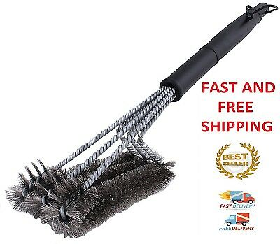 "BBQ Grill Brush Cleaner 18"" Grilling Tool Cleaning Stainless Steel Woven Wire"