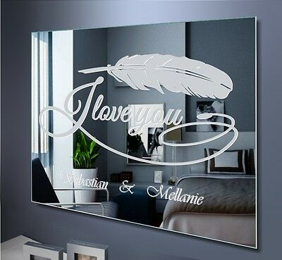 Spiegel I Love You Feather Wall Picture Decoration Name Pendant Visor Engraving