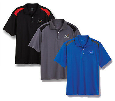 C7 Corvette Stingray Color Block Polo Shirt - 3 color choices + FREE USAshipping